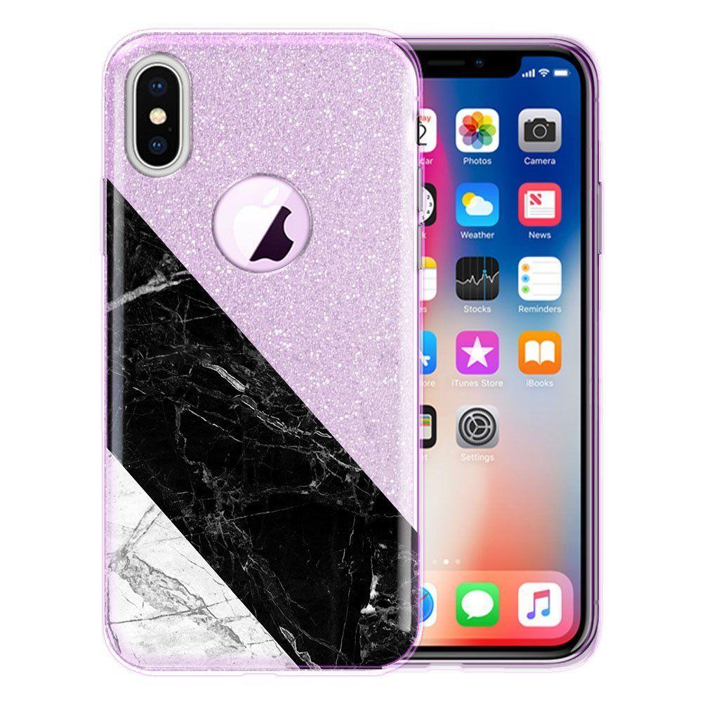 Apple iphone x hybrid case fincibo shiny sparkling silver