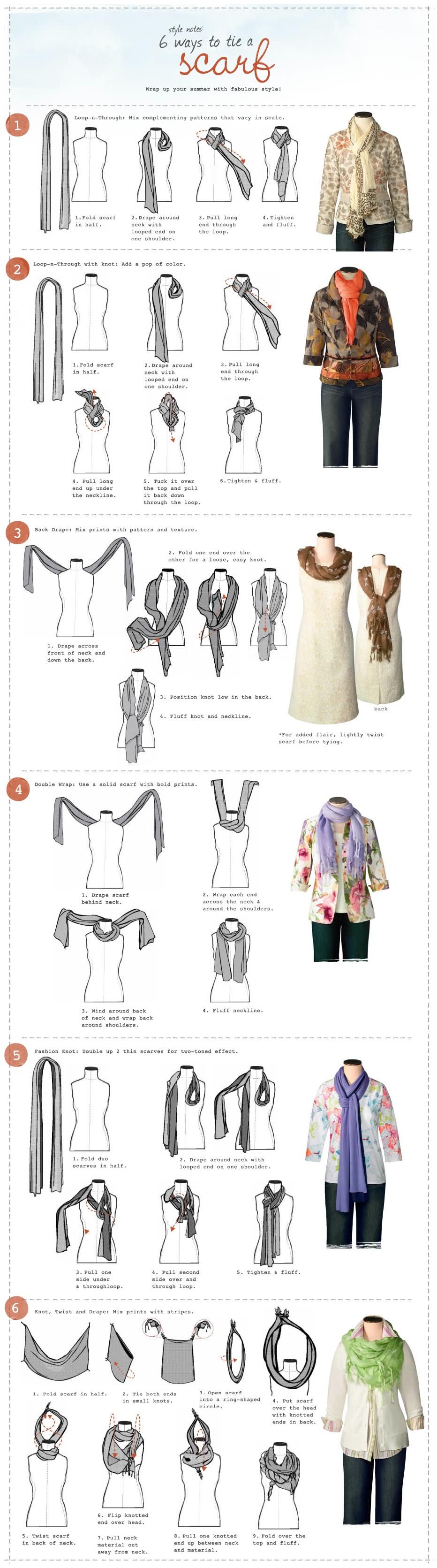 6 Ways to tie a scarf.