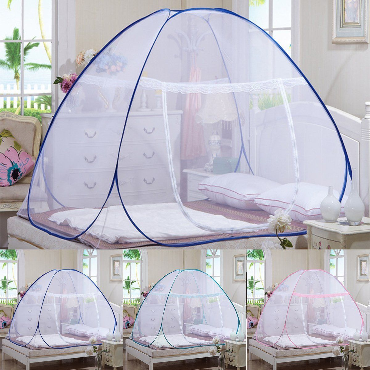 - Portable Pop Up Camping Tent Bed Canopy Mosquito Net Twin Full