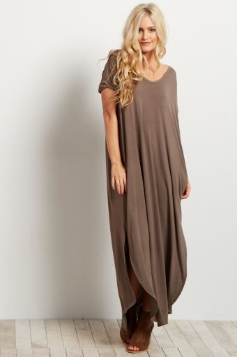 57c20a1a9 Olive Green Solid Short Sleeve Maxi Dress