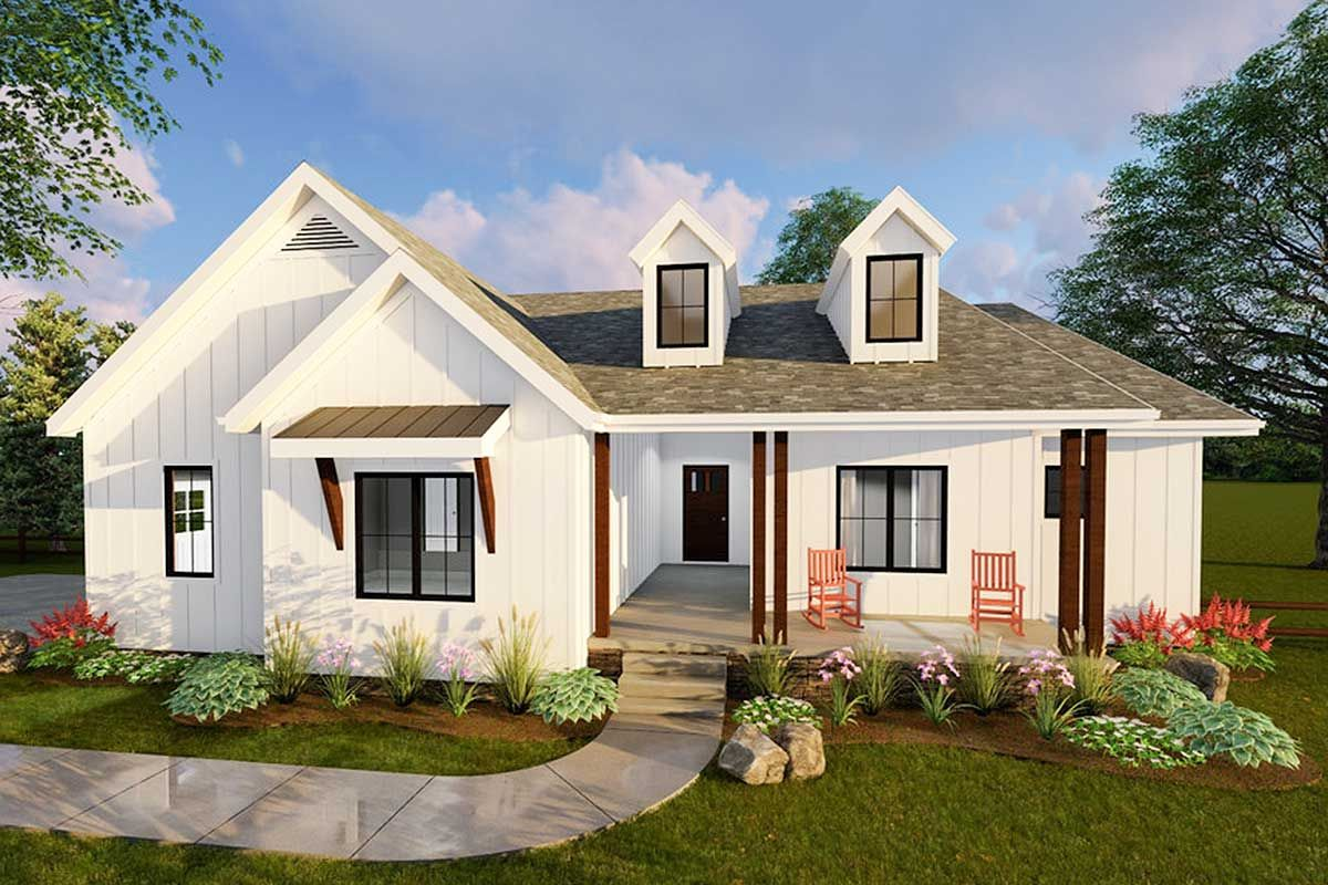 Plan 62500DJ Compact Modern Farmhouse Ranch Home Plan in