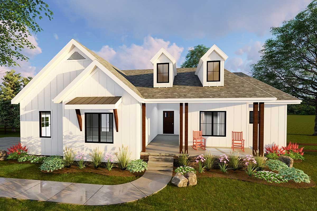 Plan 62500dj Compact Modern Farmhouse Ranch Home Plan In