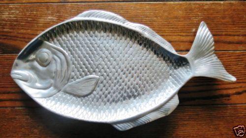 20-Huge-Fish-Tray-Metal-Aluminum-Silver-Serving-Nautical-Display-Detailed