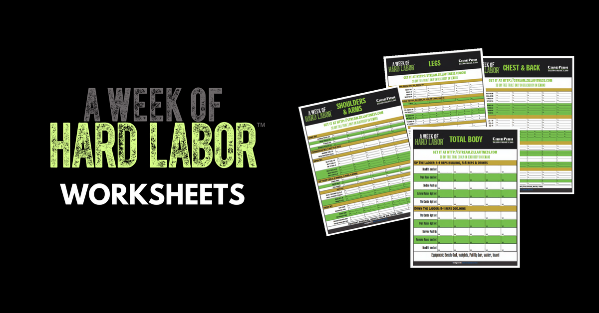 A Week Of Hard Labor Worksheets  Free Pdf  Workout Sheets Body