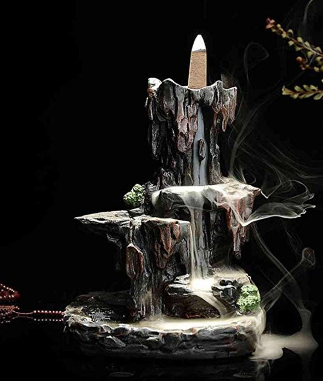 New Black Ceramic Mountain River Waterfall Smoke Backflow Incense Burner Holder