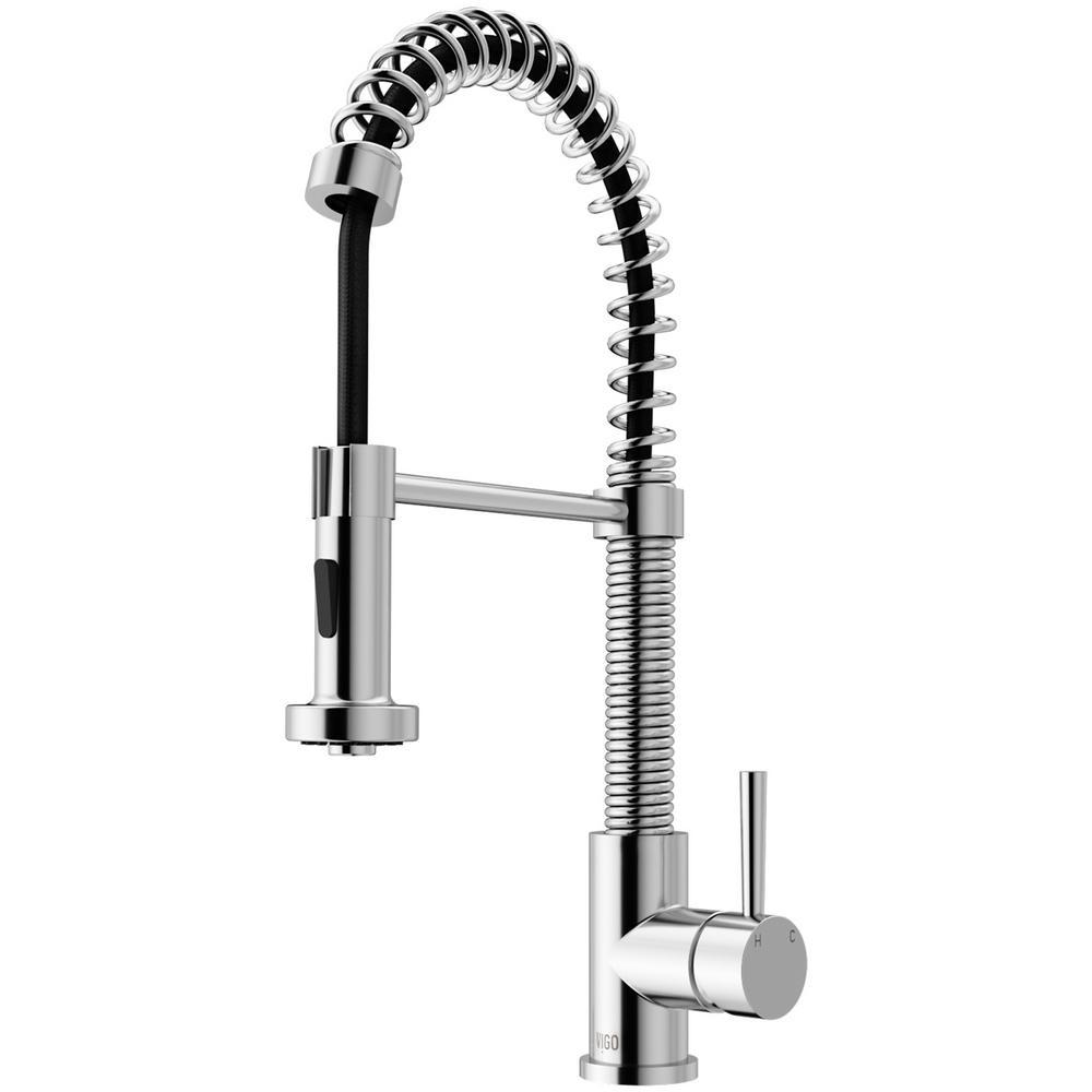 Vigo Edison Single Handle Pull Down Sprayer Kitchen Faucet In