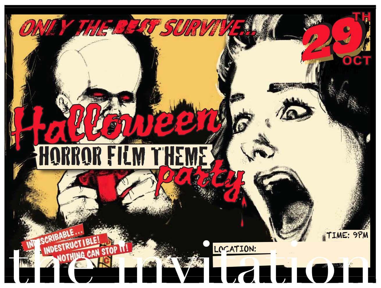 Image result for classic horror movie theme invitation