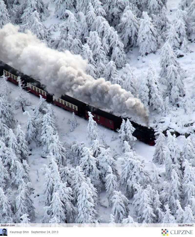 winter snow train ride..