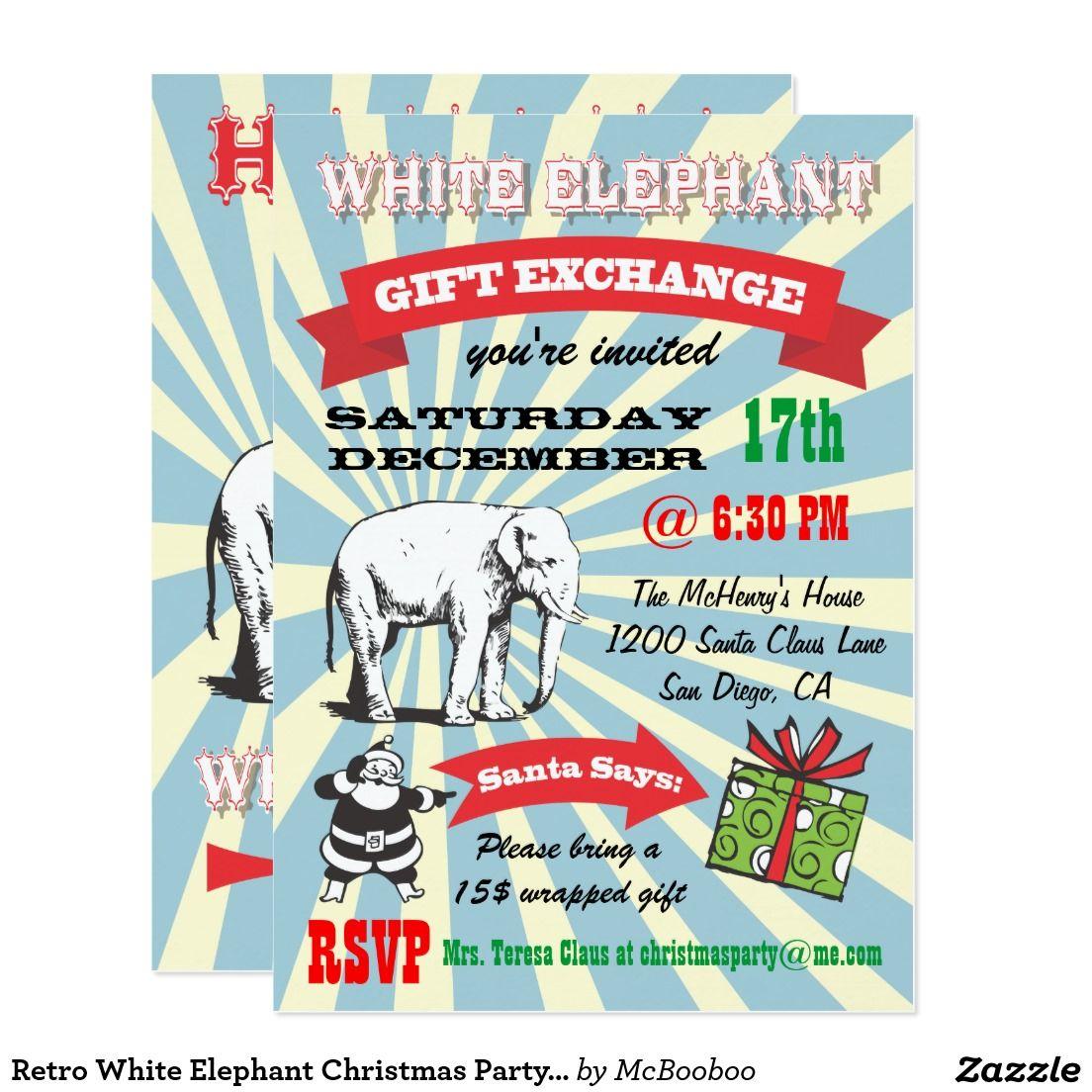 Retro White Elephant Christmas Party Invitations   Zazzle.com ...
