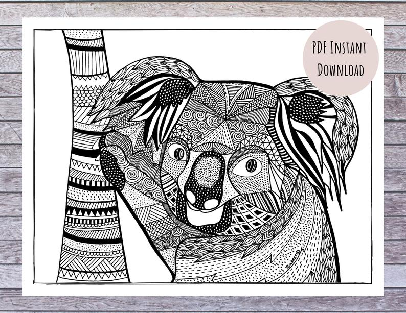 Koala Coloring Page Pdf 100 Proceeds To Help Australian Etsy In 2020 Aboriginal Art Coloring Pages Colour Images