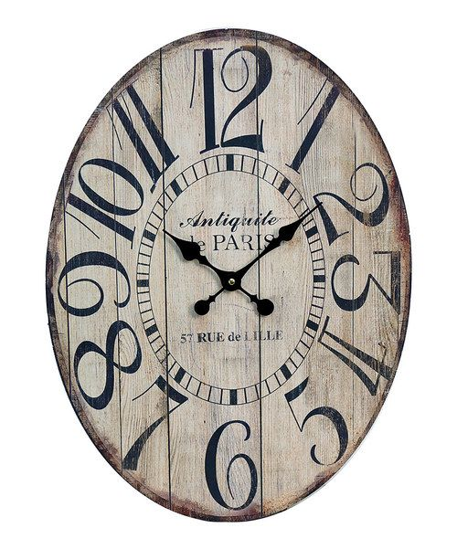 Superior Wood Wall Clock With Oversized Numerals. Product: Wall ClockConstruction  Material: WoodColor: Black And Ivory Accommodates: Batteries   Not Included  ...