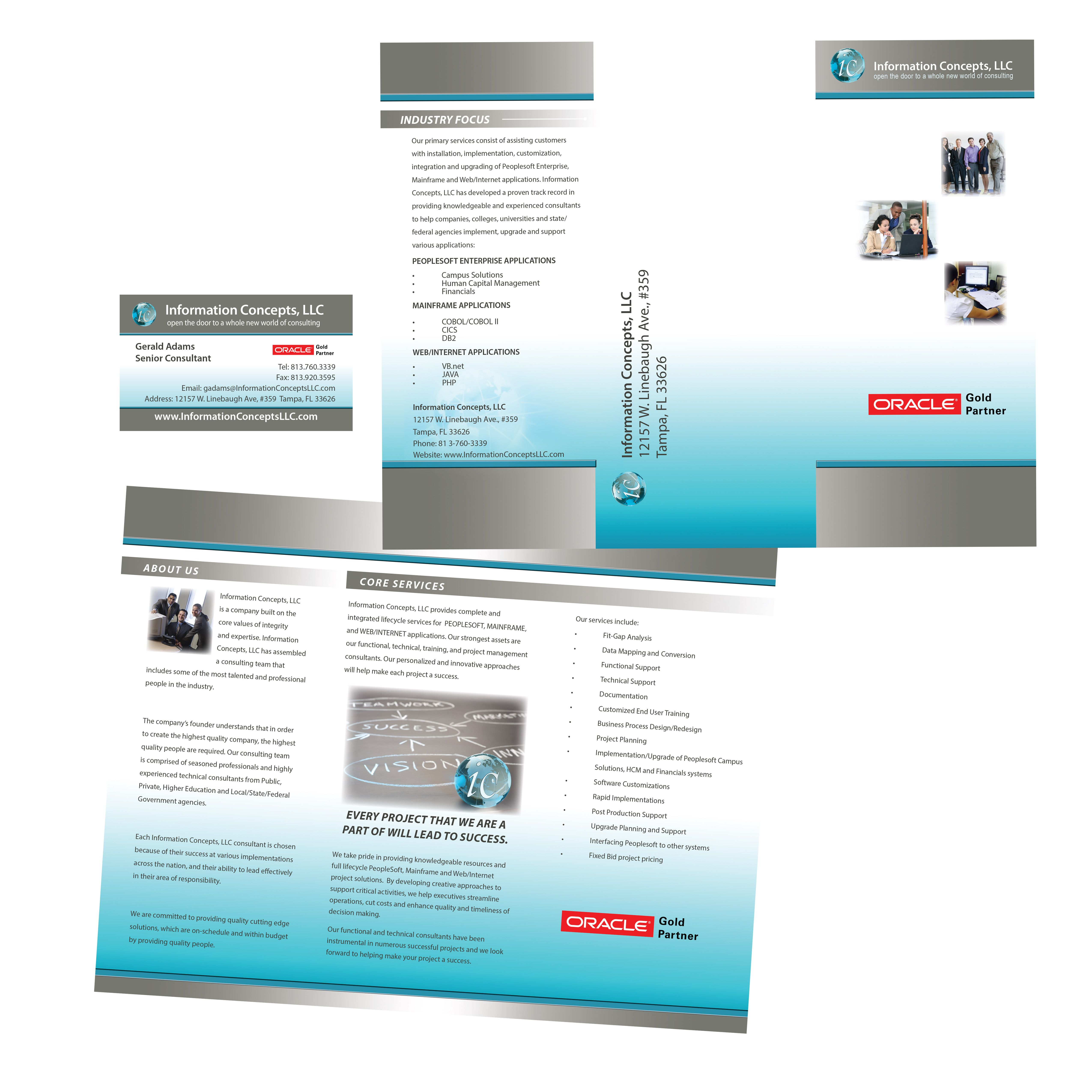 brochure and business card for peoplesoft consultant