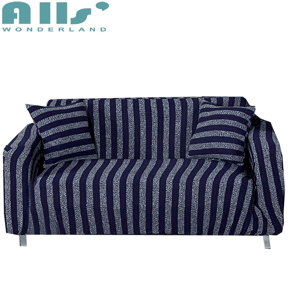 Blue Stripes Universal Stretch Furniture Covers Knitted Elastic Slipcovers For Couch Sofa Home Decoration Corner Sofa Covers Sliprcover Corner Sofa Covers Sofa Covers Sofa Home