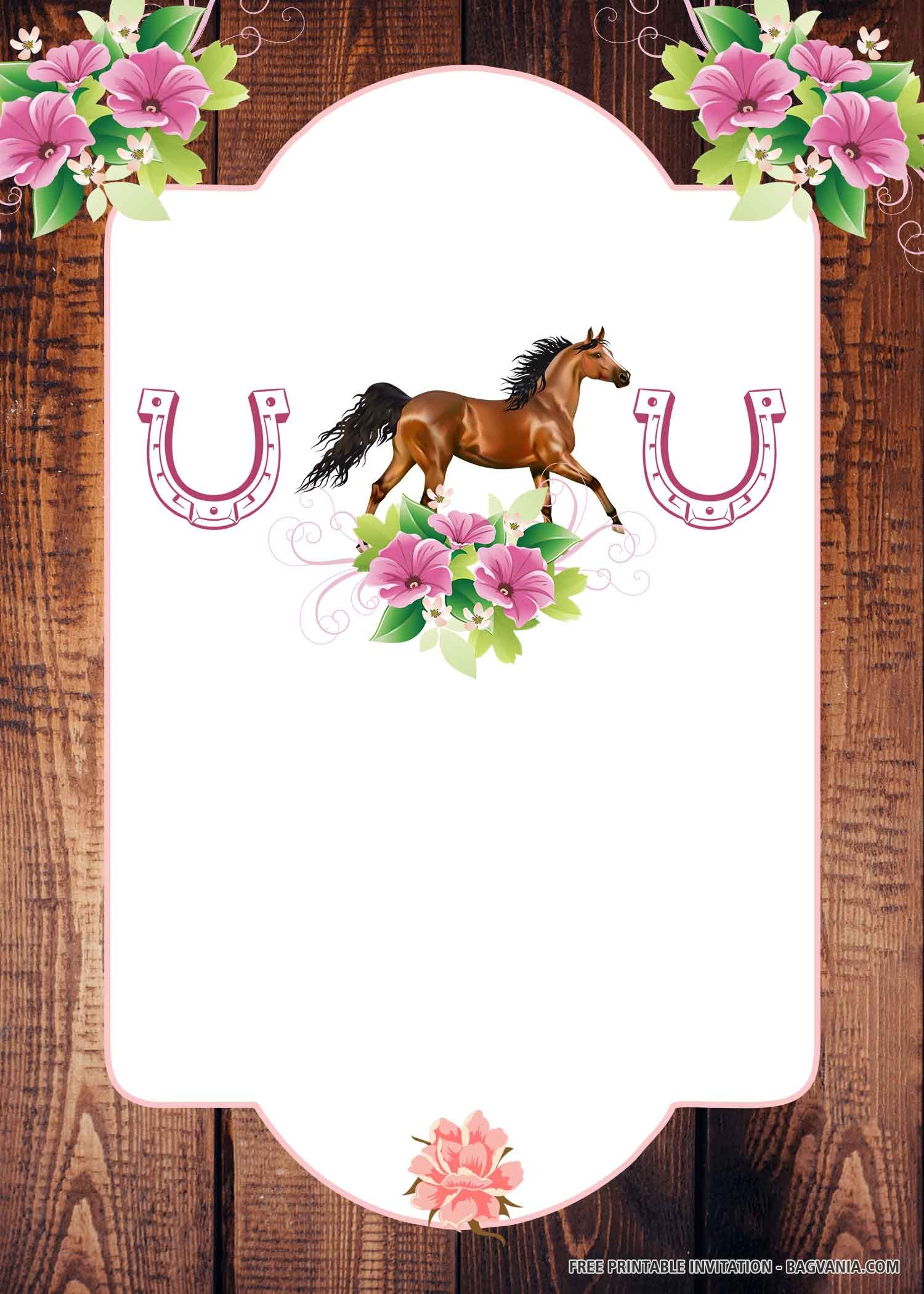 free printable pink horse birthday