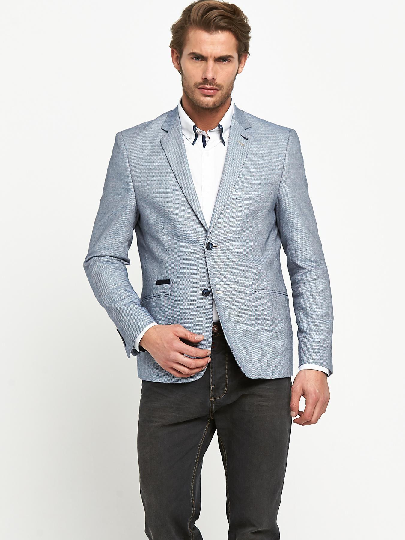 Men\'s Grey Linen Blazer, White Dress Shirt, Charcoal Jeans   Jeans ...