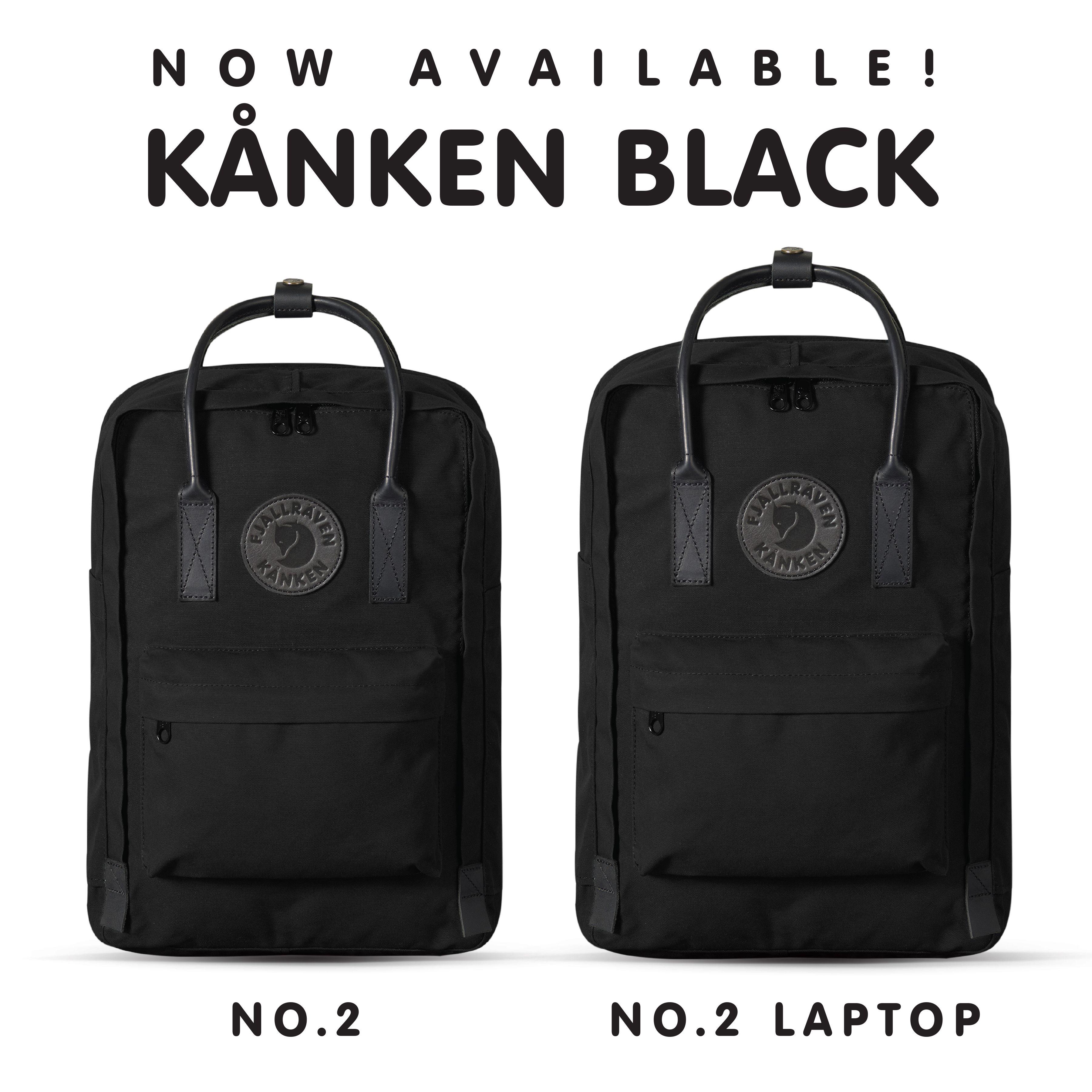 NEW KÅNKEN ALERT! The Kånken Black is here!! Shop both sizes TODAY at fjallraven.us!