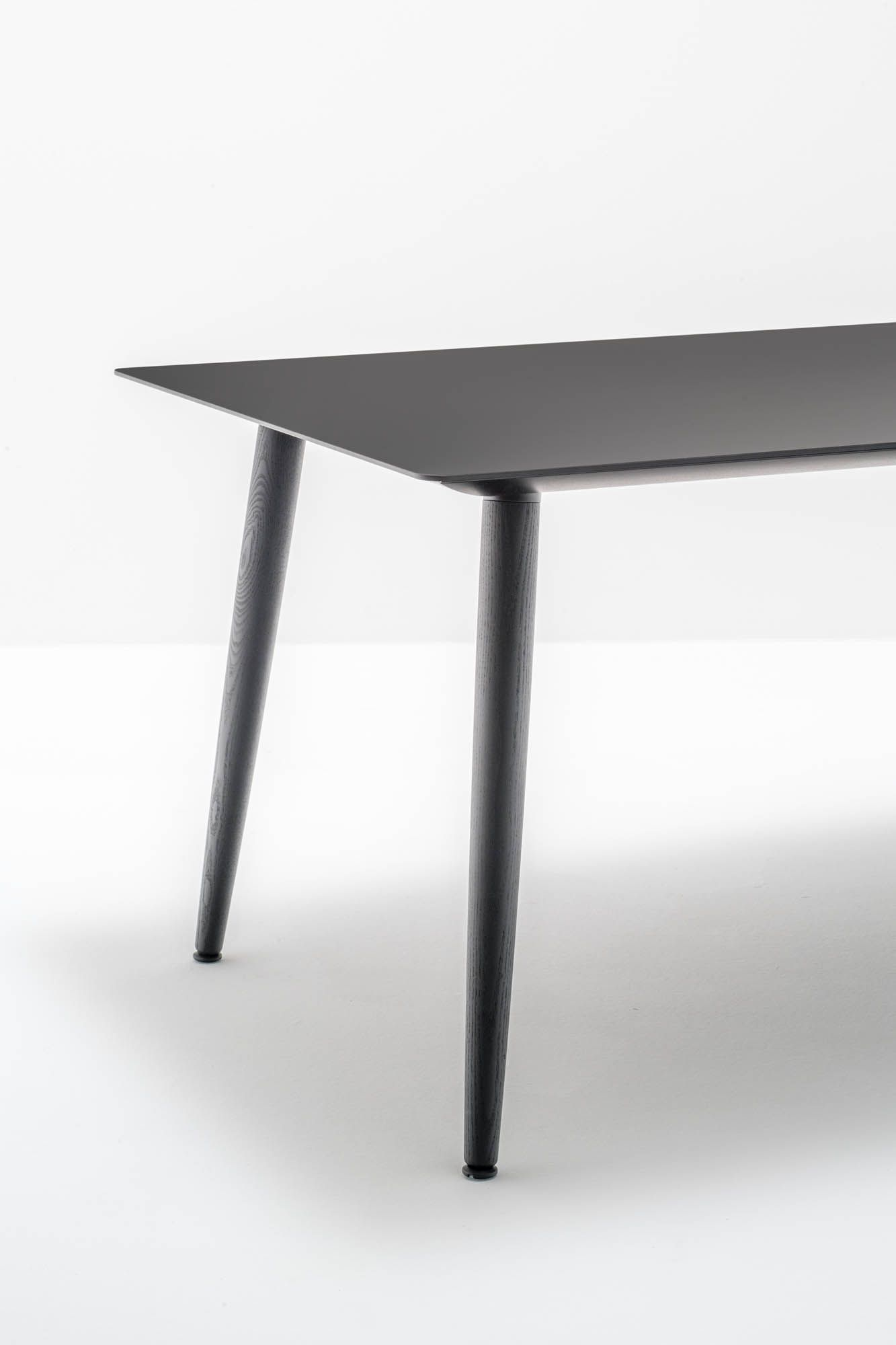 Babila table design Pedrali Solid ash wood legs matched with an ultra