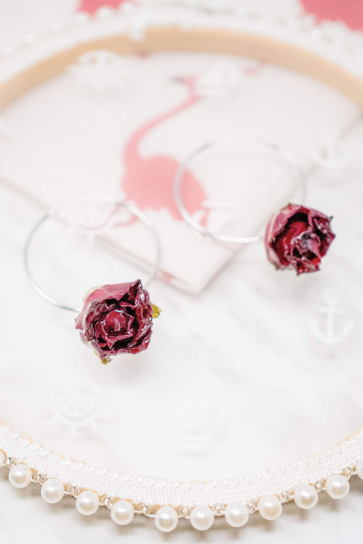 Real Red Rose Hoop Earrings, Real Flower Jewelry, 925