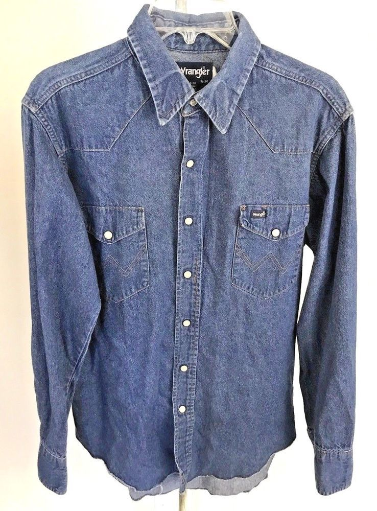 d9382591ca Vintage Wrangler Pearl Snap Long Sleeve Blue Denim Men s Shirt Size 16 x 34  L  Wrangler  Western