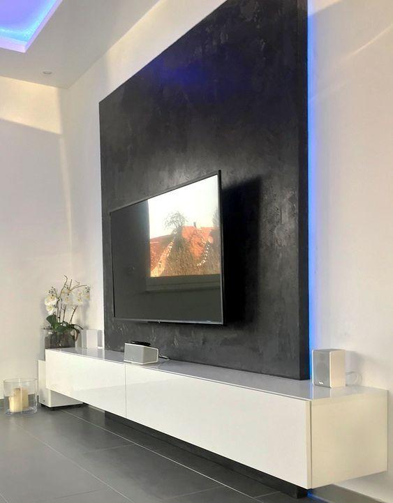 Tv Wand Dekorationsideen Beamer Halterung Inneneinrichtung