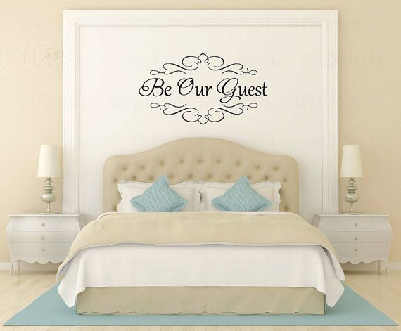 be our guest vinyl wall decal - heavy flourish wall sticker
