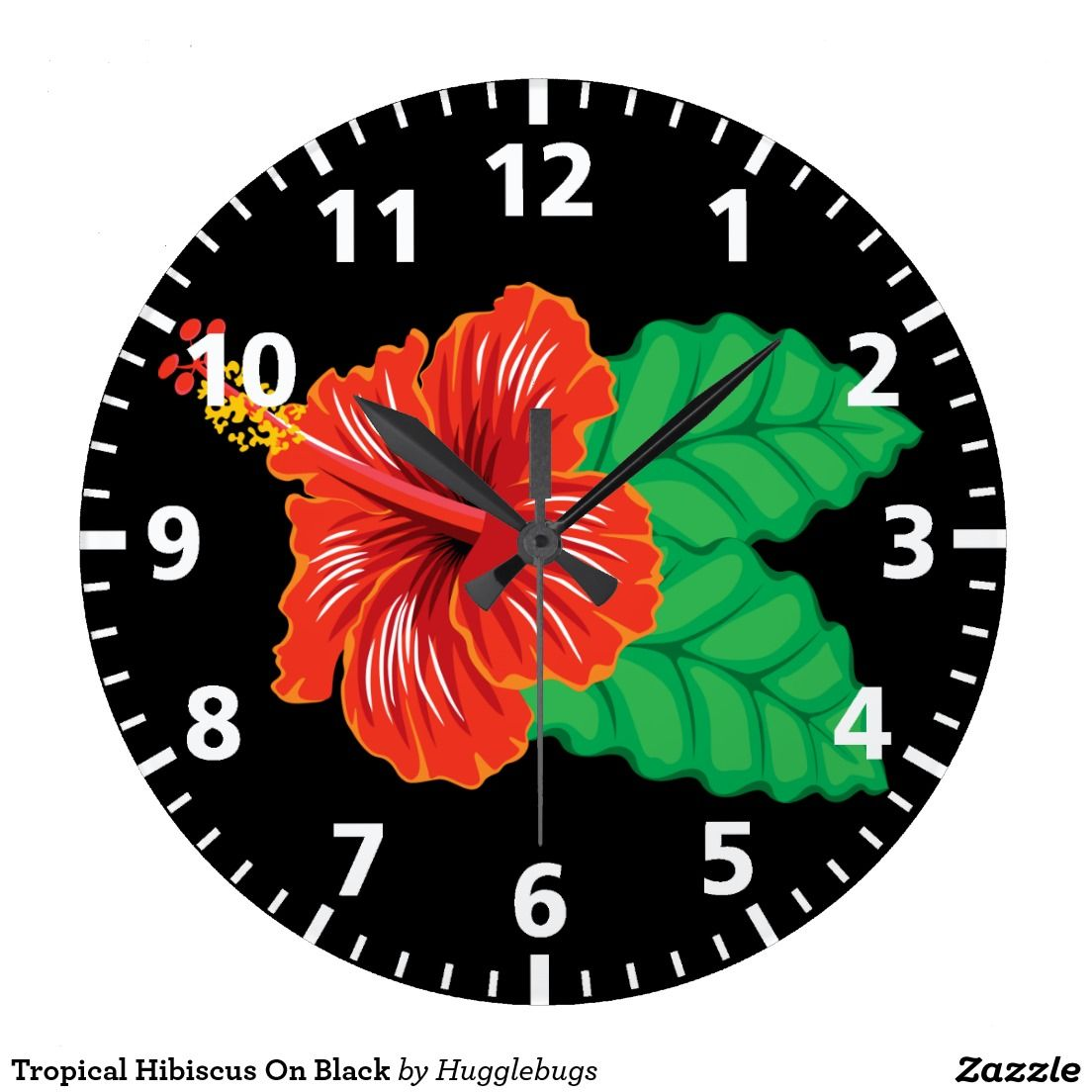 Tropical Hibiscus On Black