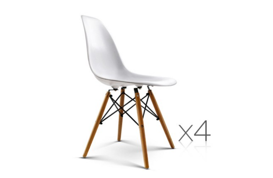 Sharon Set Of 4 Replica Eames Eiffel Dining Chairs White