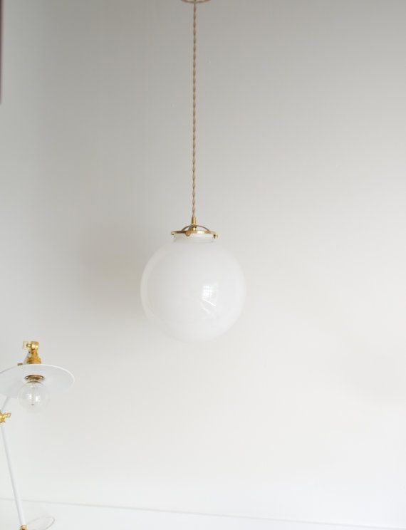 Globe Modern Hanging Light Made With Solid Brass Glass Etsy