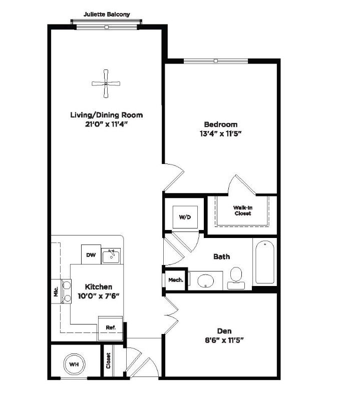 One Bedroom With Den Athenaeum 814 Sq Ft Apartment At 800 Carlyle In Alexandria Va Floor Plans Apartment Floor Plans How To Plan