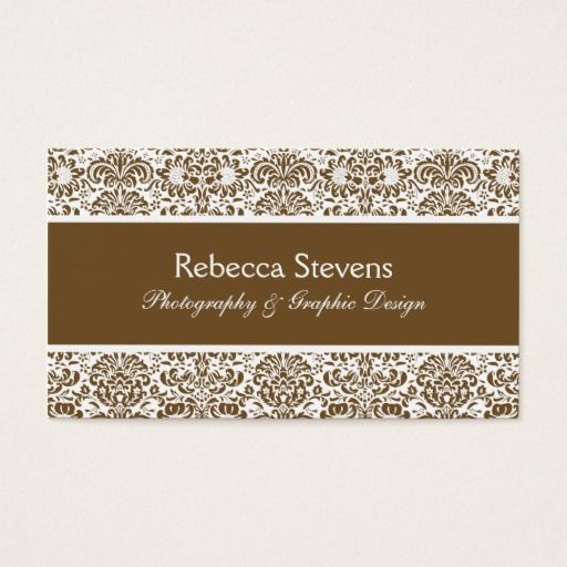 Chocolate and White Damask Business Card Chocolate Business Cards