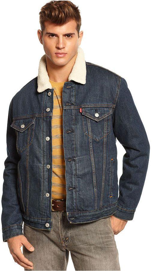 sherpa collar jean jacket man shop. Black Bedroom Furniture Sets. Home Design Ideas