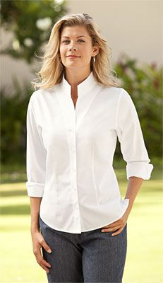 db30ba4ce37315 Just found this Elegant Shirts For Women - Wrinkle-Free Pinpoint  Stand-Collar Shirt -- Orvis on Orvis.com!