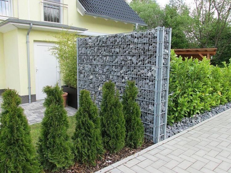 Gaviones y muros de alambre y piedras 63 dise os jardin patios pinterest jardines - Separador jardin ...