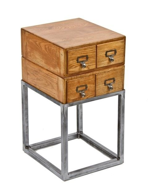 very unique repurposed vintage industrial hamilton library index card  filing cabinet side table with custom- - Very Unique Repurposed Vintage Industrial Hamilton Library Index