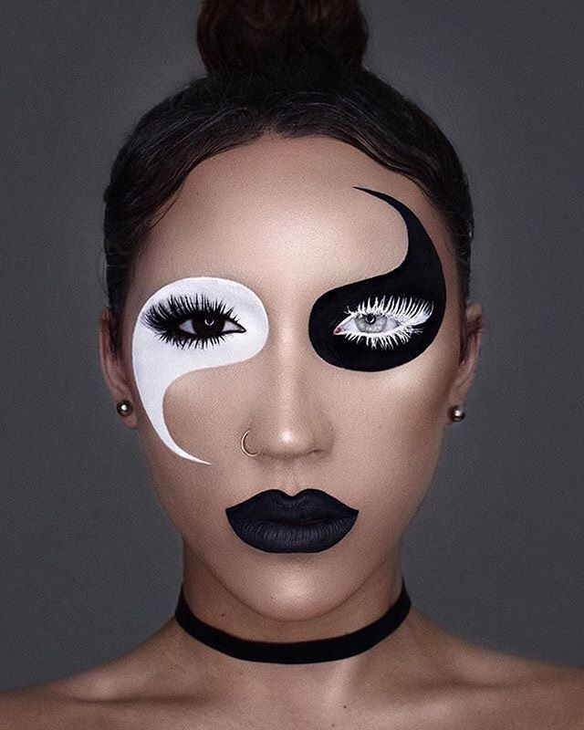 Amazing #yinyang #creative #makeup #look Cool