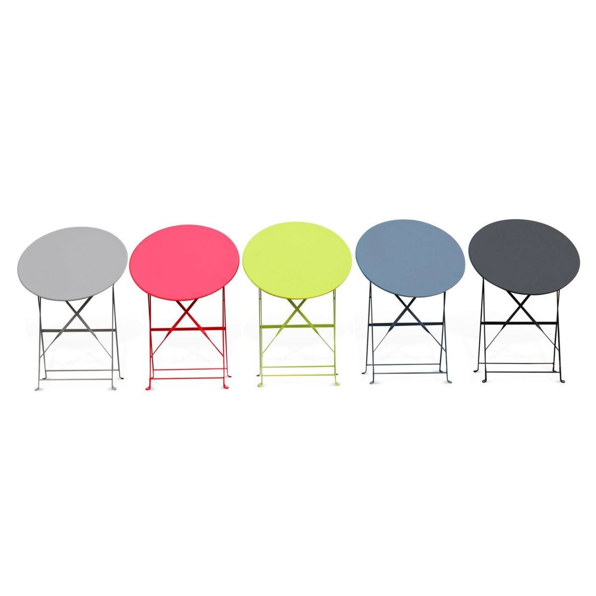 Table de jardin bistrot pliable - Emilia ronde verte- Table ...