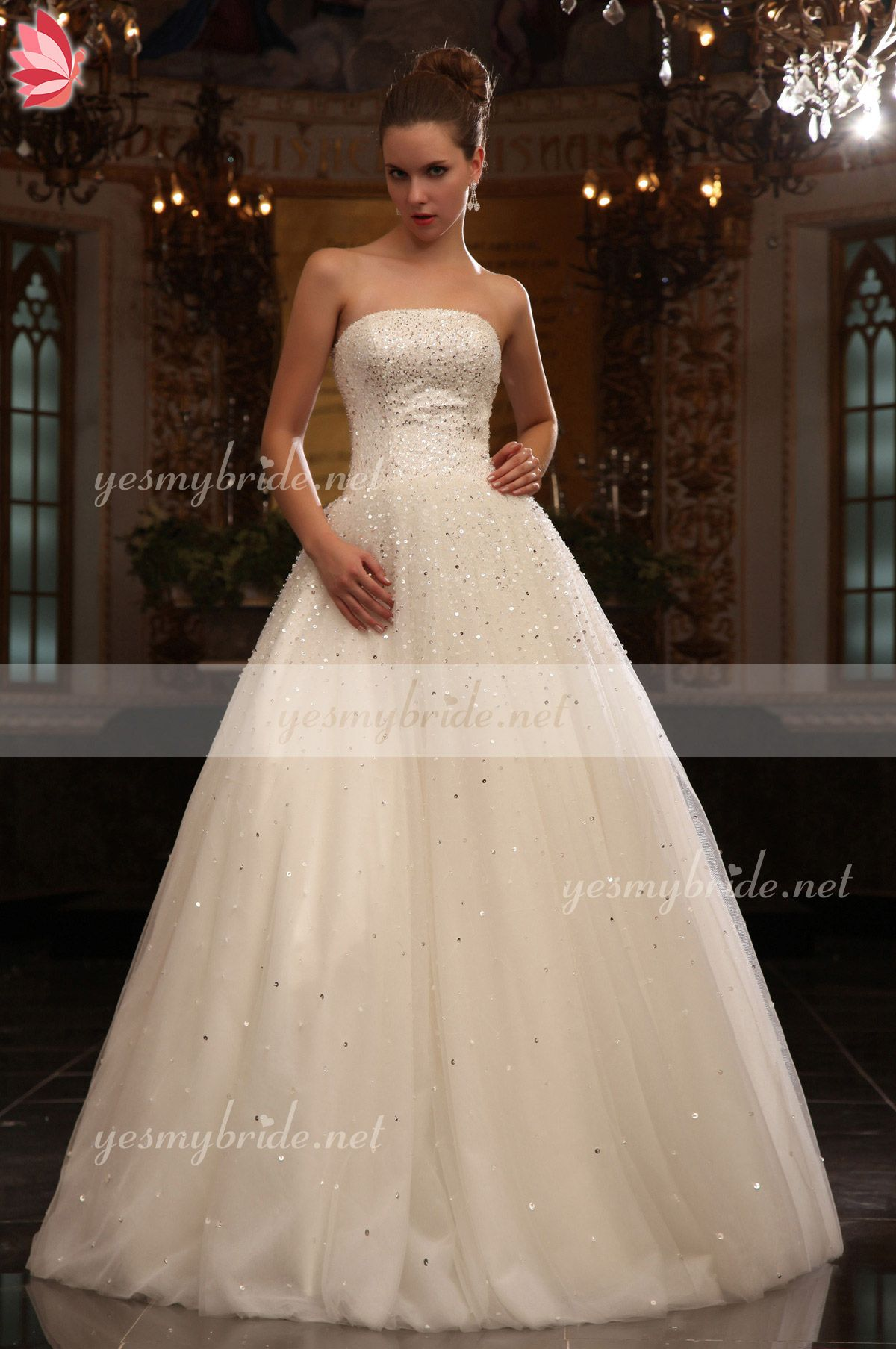 Strapless Dazzling Sequins Basque Ball Gown Wedding Dress Now ...
