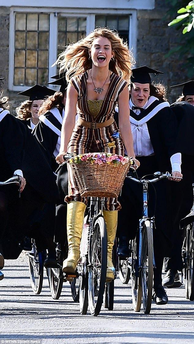 Lily James films a scene for 'Mamma Mia: Here We Go Again!' in Oxfordshire