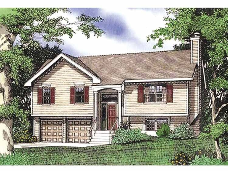 Split level house plan with 1432 square feet and 3 for Split ranch house plans