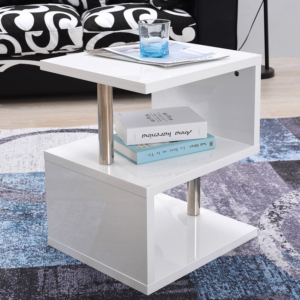 Panana Modern Design White High Gloss Side Table With Blue Led Lights Coffee Table Bedside Cabinet At Modern Side Table Design Side Table Display Shelves [ 1000 x 1000 Pixel ]