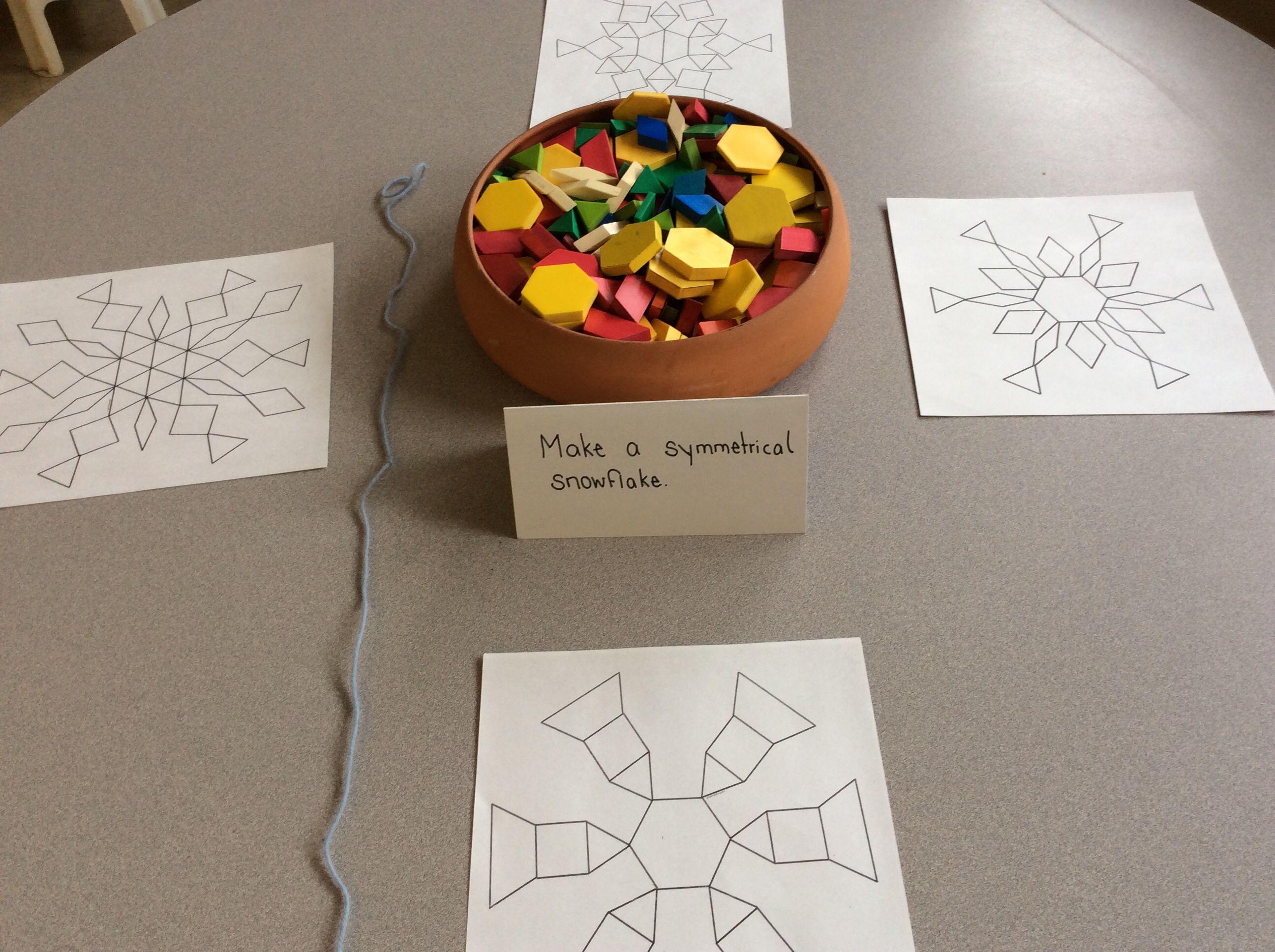Snowflake Symmetry With Pattern Blocks