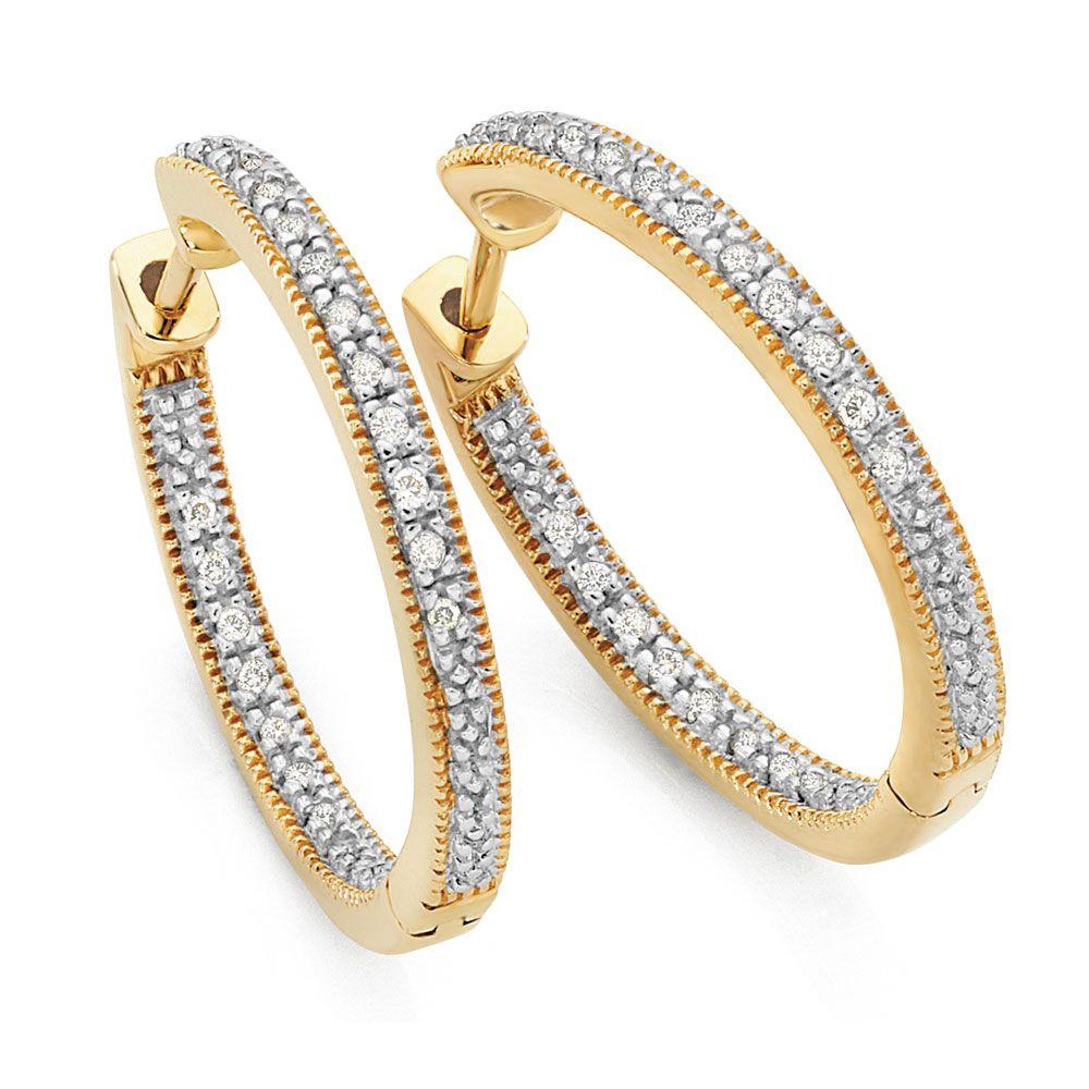 Hoop Earrings With Carat Tw Of Diamonds In Yellow Gold