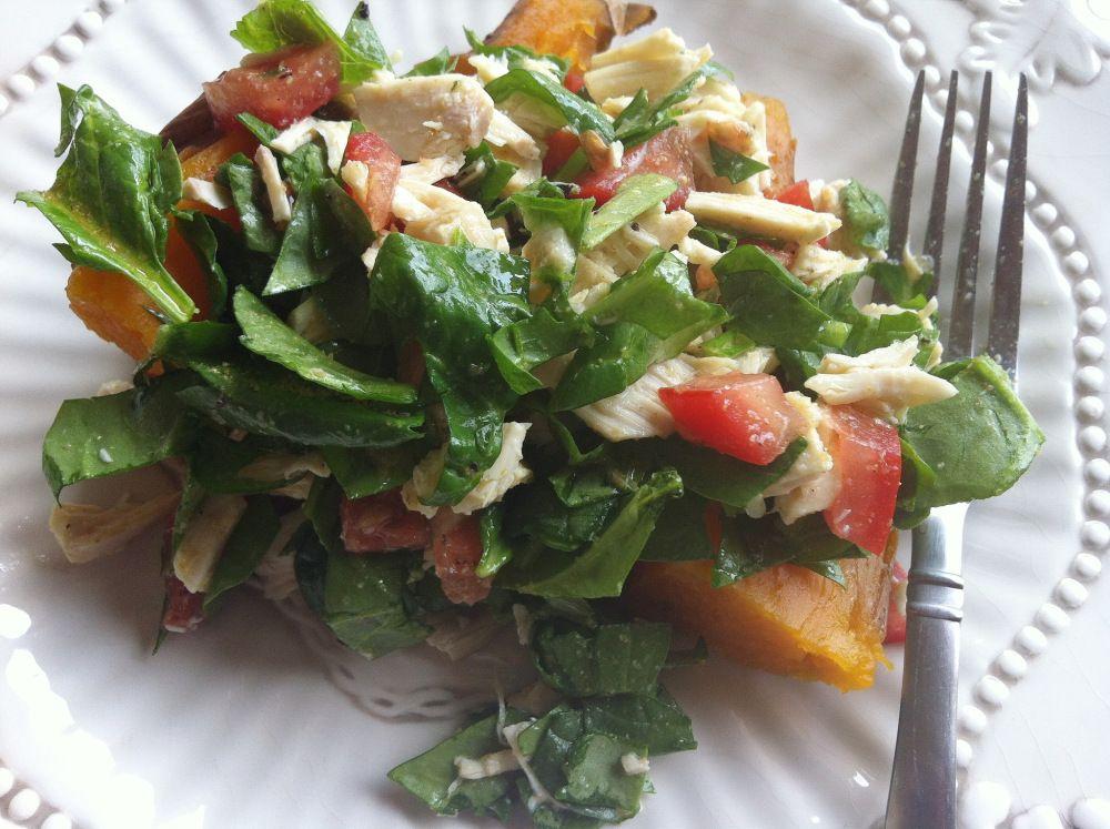sweet potato, chicken & spinach salad [from the kitchen]