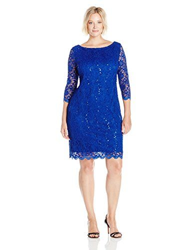 Tiana B Womens Plus Size Sequin Lace Shift Dress With 34 Sleeves