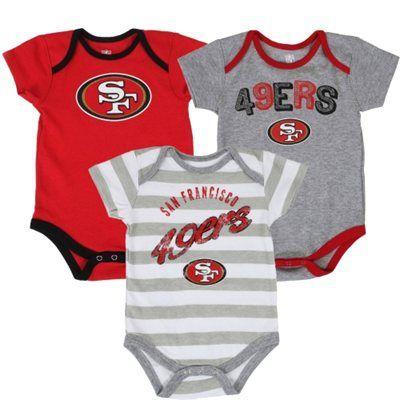 15308ce5 San Francisco 49ers Newborn Field Goal 3-Piece Creeper Set - Gray ...