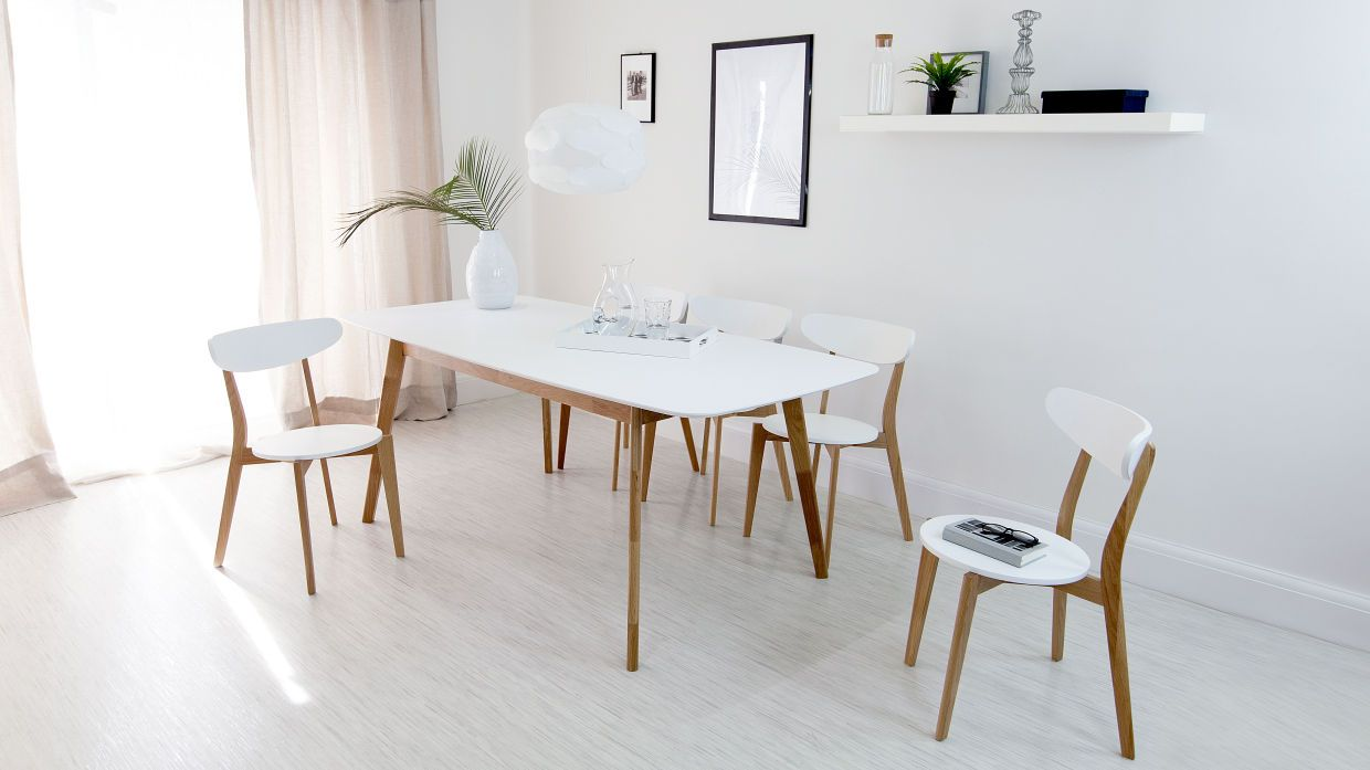 oak and white dining chairs comfy gaming chair aver extending set ideen rund ums haus modern transform your area into a mid century dream with the
