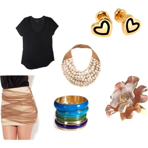body-con skirt gold, created by madisonmarie14 on Polyvore