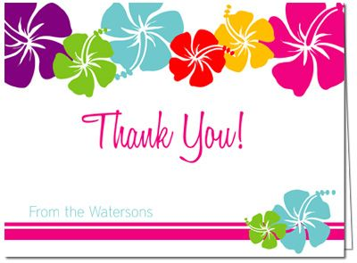 Luau Thank You Card Hawaiian Flowers Thank You Card Hawaiian Thank