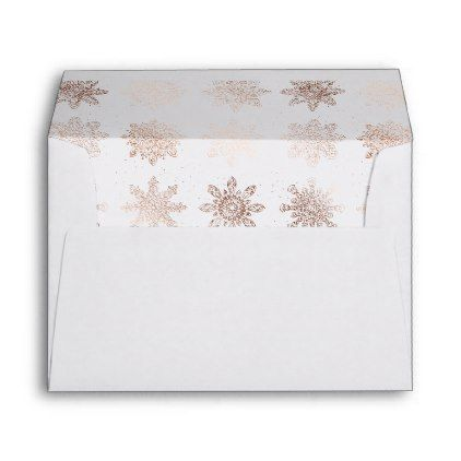Elegant Modern Christmas  Rose Gold Snowflakes Envelope  Pattern