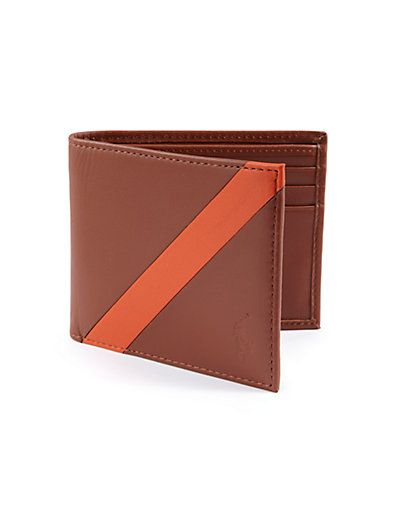 POLO RALPH LAUREN Contrast Stripe Billfold Wallet. #poloralphlauren #bags # leather #wallet